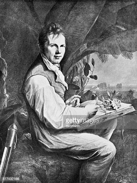 Painting by Weitsch of German naturalist Alexander von Humboldt He is depicted seated outdoors holding plants in his hand Undated illustration