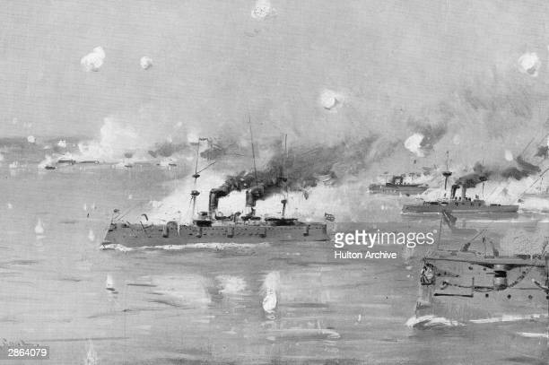 A painting called the 'Battle of Manila' depicts the US Naval fleet on its way to the engage Spanish fleet during the Spanish American War Manila Bay...