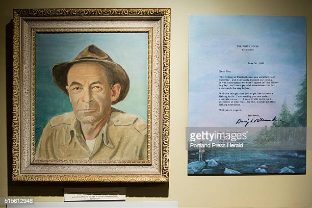 A painting created by President Dwight D Eisenhower of his Rangeley area fishing guide Don Cameron and a letter the President wrote to Cameron hang...