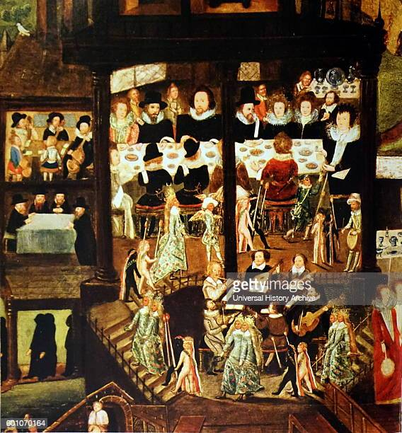 Painting depicting a 16th Century Wedding Feast in the residence of Sir Henry Unton an Elizabethan English diplomat Dated 16th Century
