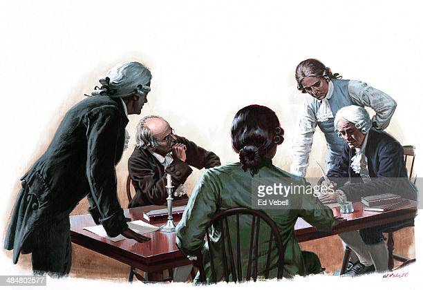 A painting depicting a group of Founding Fathers signing a document during the American Revolution circa 1776