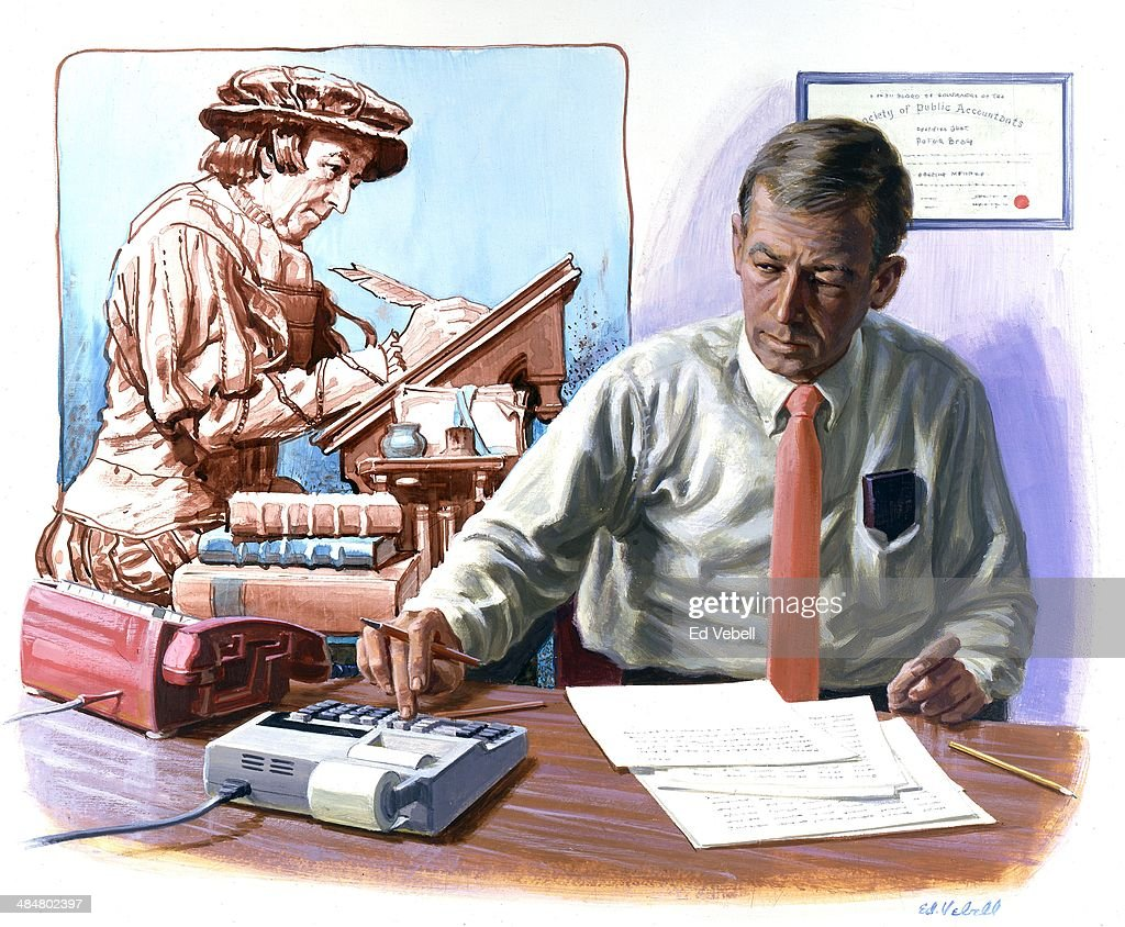 A painting depicting a modern American accountant and his European 17th century counterpart circa 1965.