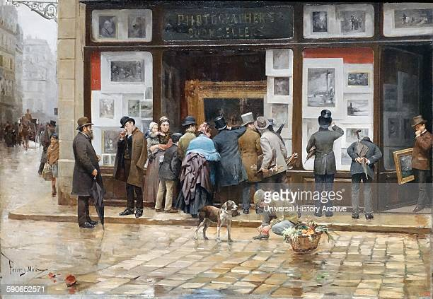 Painting depicting a Public Exhibition of a Picture by Joan Ferrer Miró Catalonian painter Dated 1888