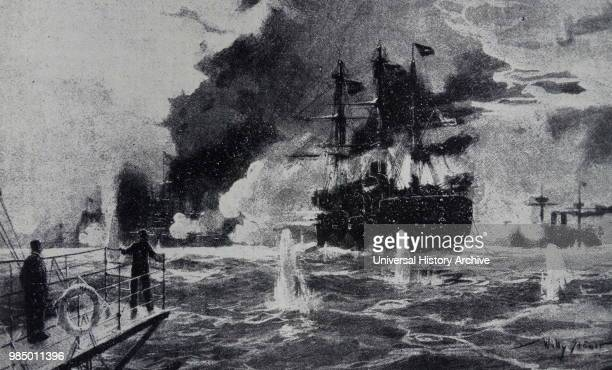 Painting depicting a scene from the Battle of Manila Bay by Willy Stower a German artist illustrator and author during the Imperial Period Dated 19th...