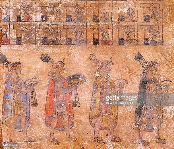 Painting depicting a scene of figures making offerings artefact from Cacaxtla Detail PreColombian Civilization classical period 250 BC900 AD...