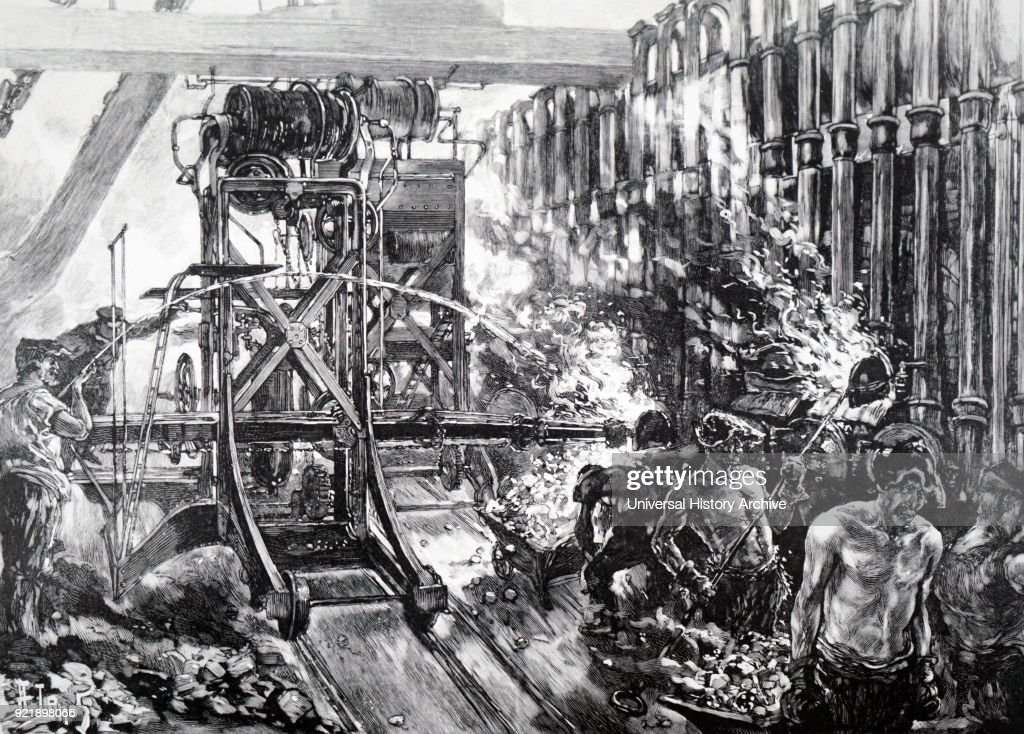 Painting depicting a scene within The London Gas Supply, showing the method of manufacture. Dated 19th century.