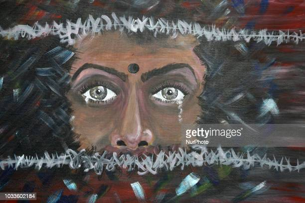 Painting depicting a Tamil woman behind a barbedwire fence as members of the Transnational Government of Tamil Eelam protest against the Mahaweli...