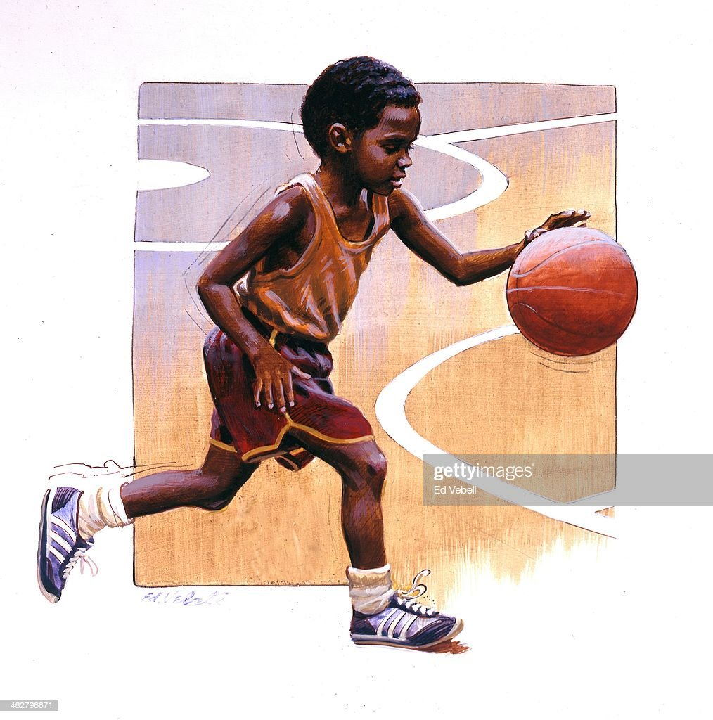 A painting depicting a young African American boy playing basketball circa 1970.