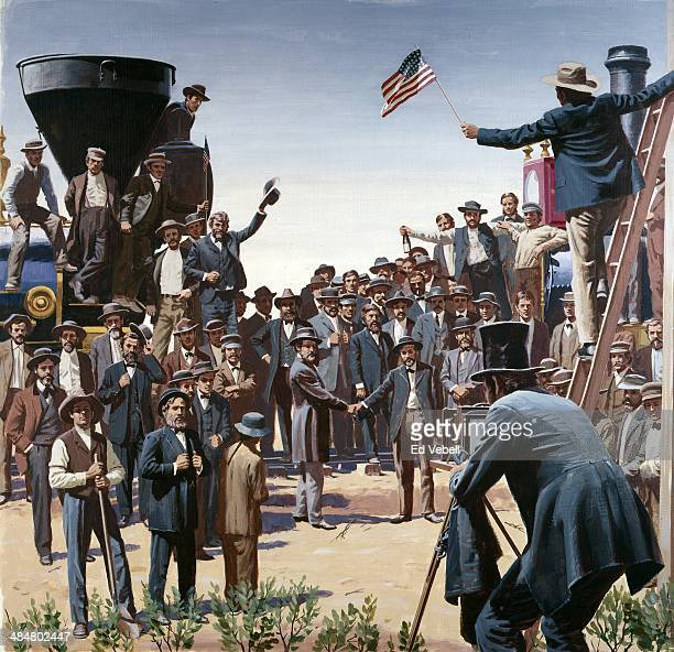 A painting depicting AJ Russell photographing the meeting of the Central Pacific and Union Pacific Railroads on May 10 1869 in Promontory Utah