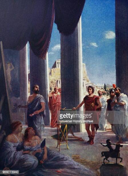 Painting depicting Alexander the Great visiting the studio of Apelles Alexander the Great king of the ancient Greek kingdom of Macedon and a member...