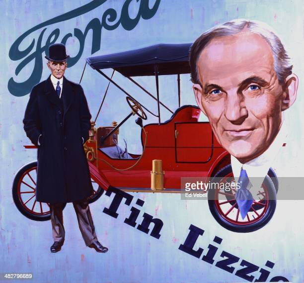 A painting depicting American Industrialist Henry Ford and his Model T automobile circa 1927