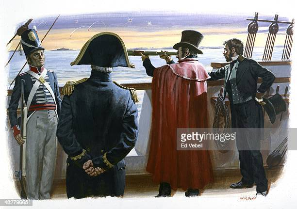 A painting depicting American lawyer Francis Scott Key aboard the British ship HMS Tonnant viewing the Stars and stipes still flying above Fort...