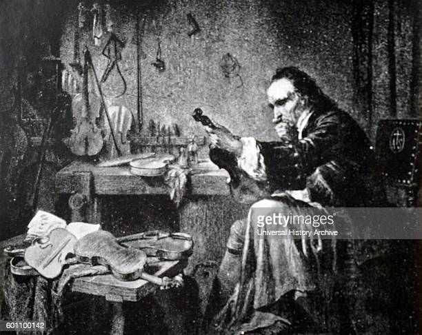 Painting depicting Antonio Stradivari an Italian luthier and a crafter of stringed instruments such as violins cellos guitars violas and harps Dated...