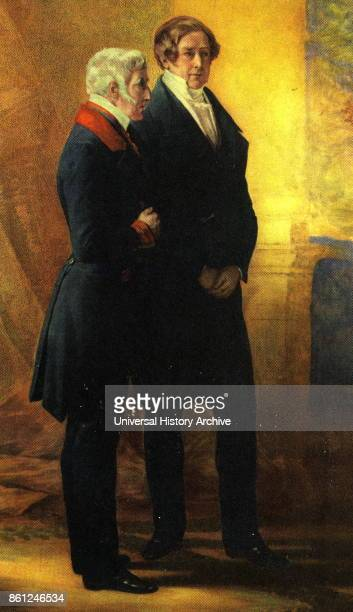 Painting depicting Arthur Wellesley 1st Duke of Wellington and Sir Robert Peel a Prime Minister of Great Britain and member of the Conservative Party...
