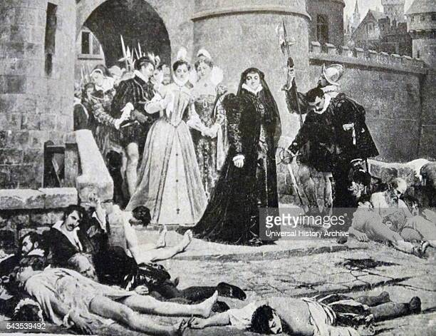 Painting depicting Catherine de Medici viewing the aftermath of the St. Bartholomew's Day massacre. The massacre was a targeted group of...