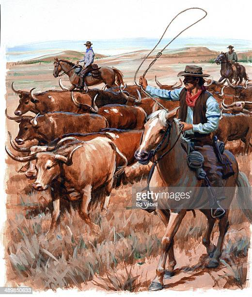 A painting depicting cowboys during a cattle drive from Texas to Kansas city along the Chisolm Trail circa 1880