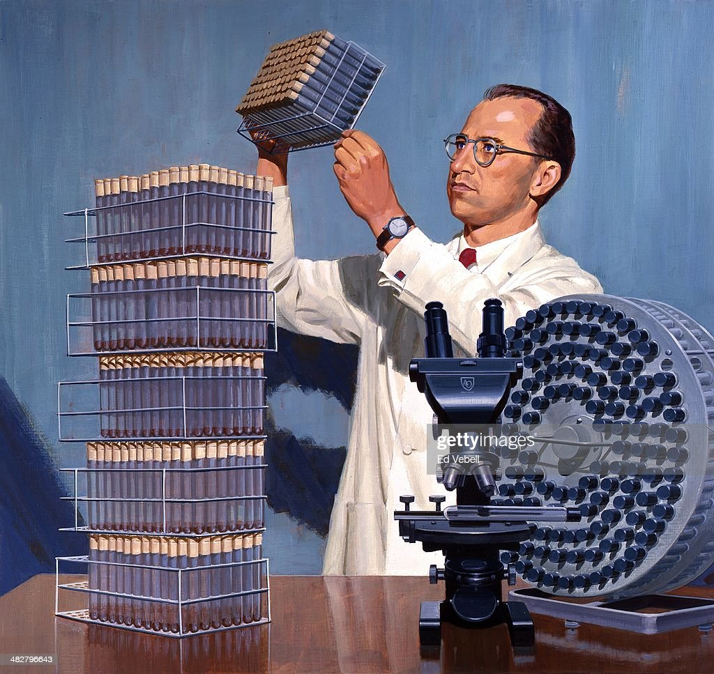 A painting depicting Dr Jonas salk in his lab working on the Polio vaccine in 1855 in Pittsburgh, Pennsylvania.