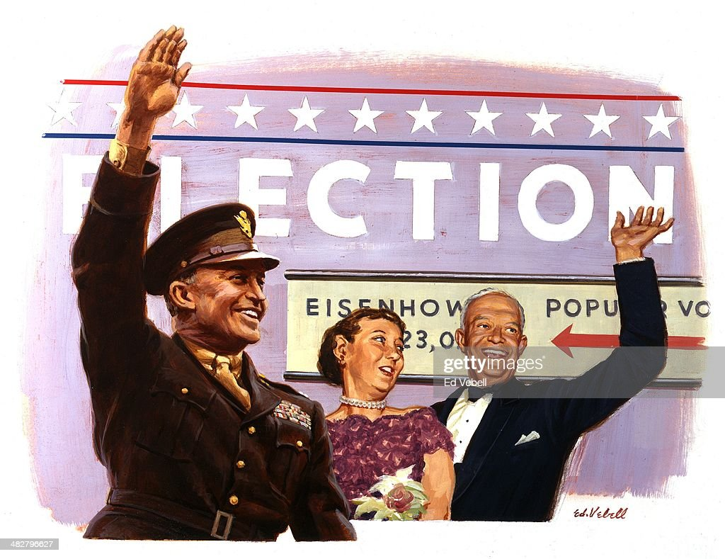 A painting depicting Elcetion of Dwight D. Eisenhower to be the 34th President of the United States with an second view of him as Supreme Commander of the Allied Forces during WW2 on November 4, 1952 in New York City, New York.