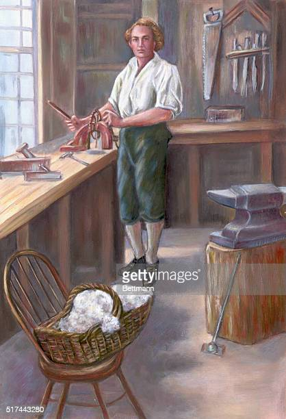 Painting depicting Eli Whitney in his workshop developing the cotton gin Undated illustration