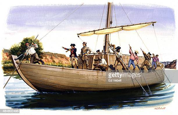 A painting depicting explorers Meriwether Lewis and William Clark on their Keelboat known as 'The Boat' using poles to navigate the Missoiuri River...