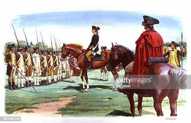 A painting depicting General George Washington taking command of the Continental army on Cambridge Common on July 3 1775 in Cambridge Massachusetts
