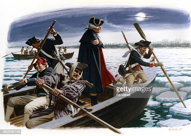 A painting depicting General George Washington's crossing of the Delaware River from on December 25 1776 between Pennsylvania and New Jersey
