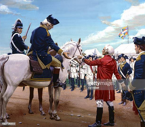 A painting depicting General Lord Cornwallis surrendering his sword and his army to General George Washington and the Continental and French armies...