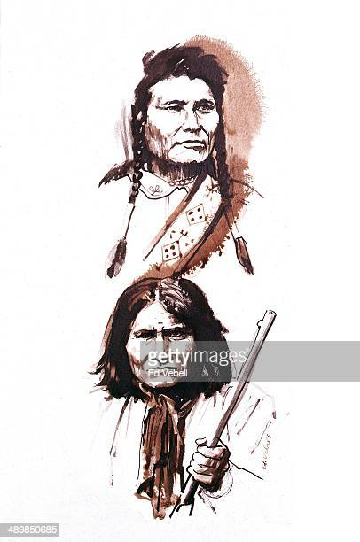 A painting depicting Geronimo Chief of a small band of Chiricahua Apache Indians and Chief Joseph leader of the Wallowa band of Nez Perce circa 1885