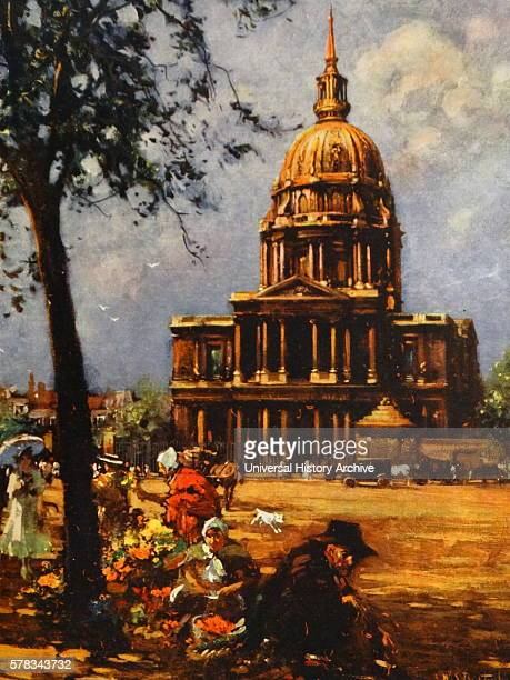 Painting depicting Les Invalides, originally used as a hospital and retirement home for war veterans. Dated 17th Century.