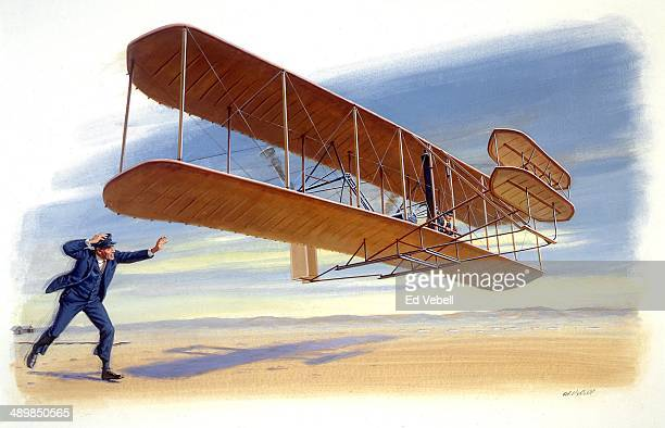 A painting depicting Orville Wright piloting the Wright Flyer 1 and being chased by his brother Wilbur Wright during the first manned flight on...