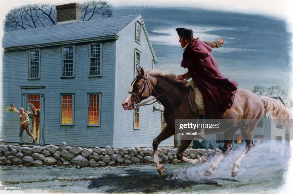 A painting depicting Paul Revere warning patriots of the impending British landings in Lexington on April 18, 1775 in Middlesex County, Massachusetts.
