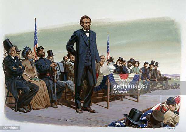 A painting depicting President Abraham Lincoln making a speech known as The Gettysburg Address at the dedication of the Soldiers' National Cemetery...
