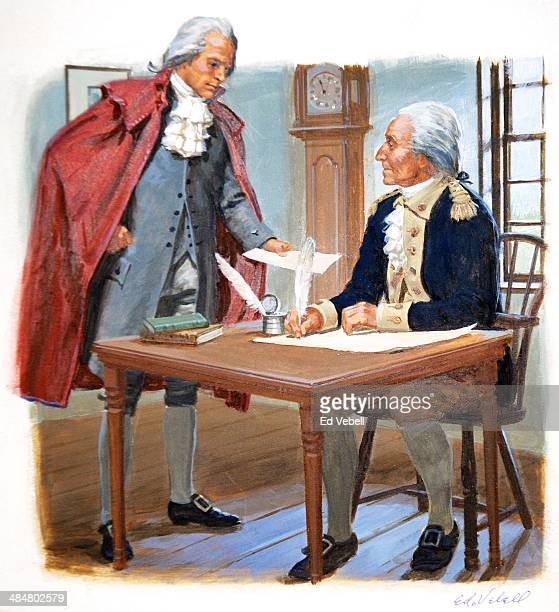 A painting depicting President George Washington asking Alexander Hamilton to be the first United States Secretary of the Treasury in September 1789...