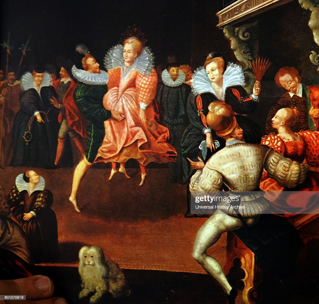 Queen Elizabeth I dancing with the Earl of Leicester. : News Photo