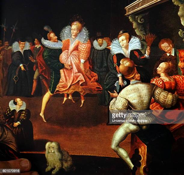 Painting depicting Queen Elizabeth I of England dancing with the Earl of Leicester by an anonymous artist Dated 16th Century