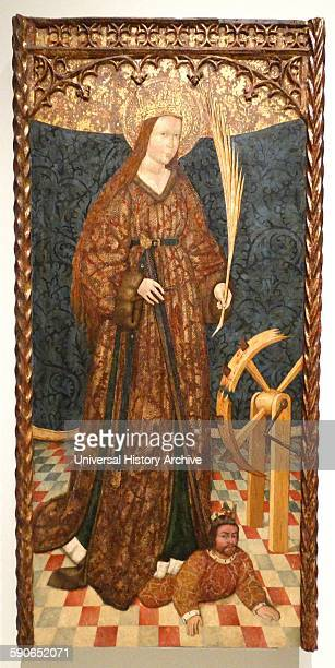 Painting depicting Saint Catherine of Alexandria Christian saint and virgin who was martyred in the early 4th century at the hands of the pagan...