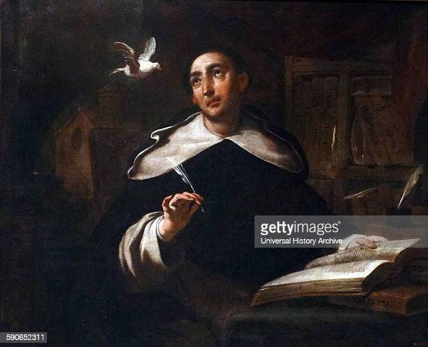 Painting depicting Saint Thomas Aquinas by Antoni Viladomat Catalonian painter in the Baroque style Dated 18th Century