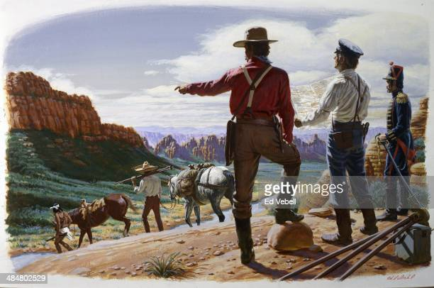 A painting depicting surveyors mapping out the territory in what is now Arizona and New Mexico that will be transferred from Mexico to The United...