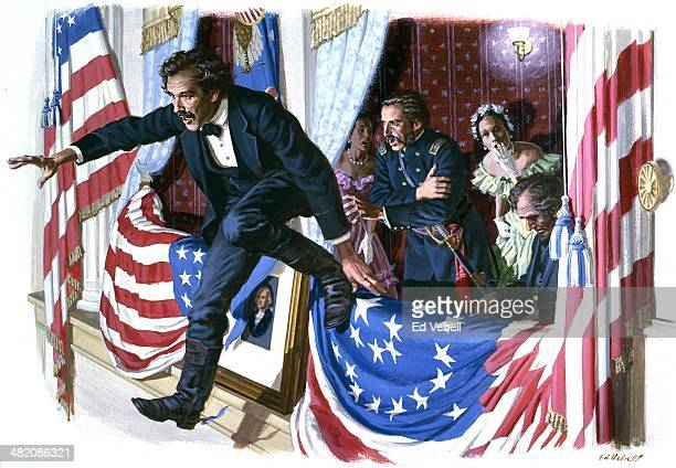 A painting depicting the Assassination of Abraham Lincoln by John Wilkes Booth at Ford's Theatre on April 11 1865 in Washington DC