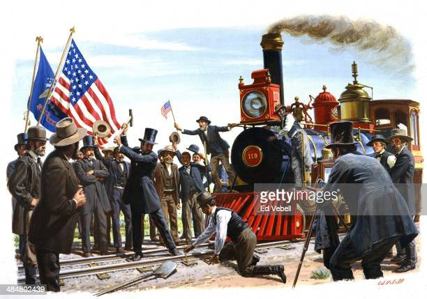 A painting depicting the ceremonial driving in of 'The golden Spike' at the meeting of the Central Pacific and Union Pacific Railroads on May 10 1869...