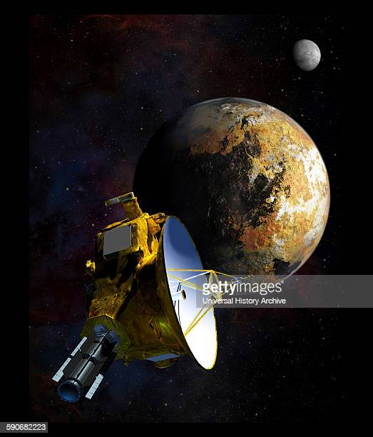Painting depicting the new horizons space probe as it approaches Charon Pluto's moon Dated 2015