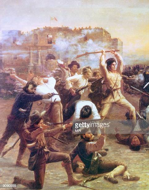 Painting depicting the Texan defenders of the Alamo fighting Mexican soldiers within the walls of the fortress in March 1836 Davy Crockett with his...