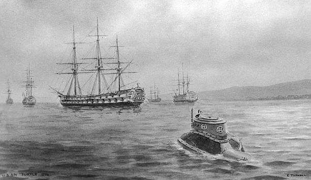 Painting depicting the unsuccessful attempt by USS...
