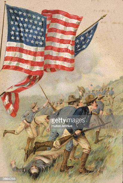 Painting depicts a charge by American troops that led to the capture of the strategically important San Juan Hill during the Spanish-American War,...