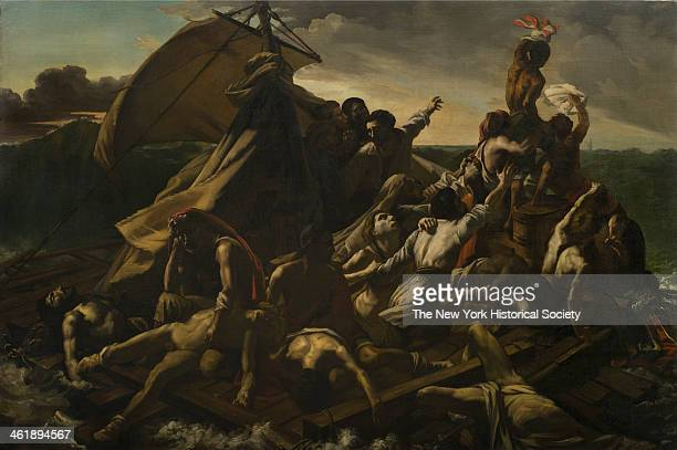 Painting depicts of the aftermath of the wreck of the French naval frigate Meduse on July 5 1830