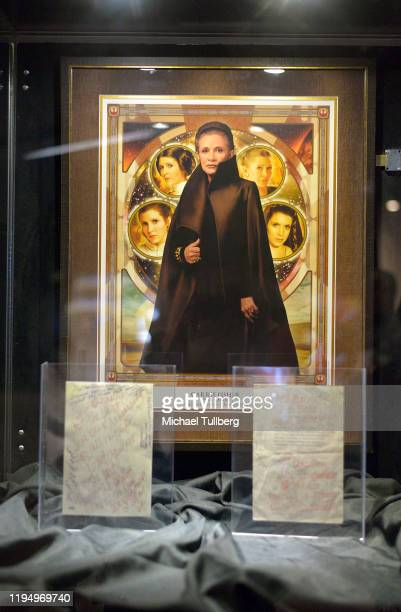 """Painting display of actress Carrie Fisher at the Carrie Fisher pop-up museum """"The Todd Fisher Collection"""" at TCL Chinese Theatre on December 19, 2019..."""