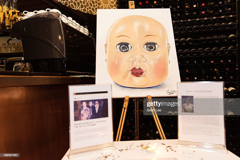 A painting donated by artist Sara Von Kienegger at the Original Sin hosted charity fund raising party for the benefit of Truyen Tin Orphanage on November 21, 2015 in Singapore.