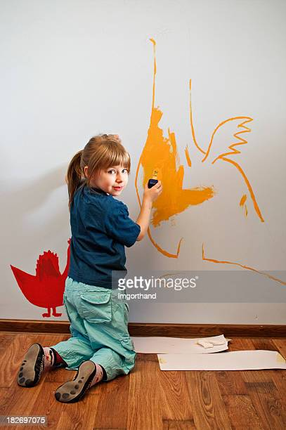 Painting dragons on a wall