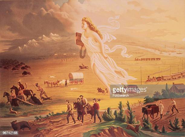 Painting entitled 'American Progress' by John Gast depicting 'Manifest Destiny' In 1872 artist John Gast painted a popular scene of people moving...