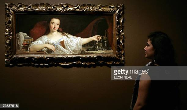 A painting entitled 'Duchess Girolama Santacroce Conti' by Italian artist Pompeo Batoni is pictured at the National Gallery in London February 19 in...